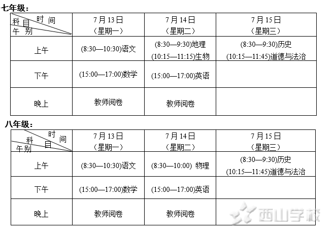 收获已至 期末亮剑——西山学校初中部举行2019—2020学年第二学期期末考试